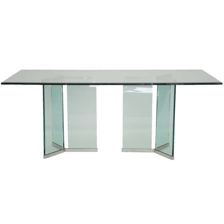 Leon Rosen for Pace Collection Glass and Chrome Dining Table For Sale
