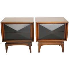 Pair 3d Architectural Diamond Front Night Stands In The Manner Of Vladimir Kagen