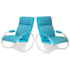 Pair of Charles Hollis Jones Lucite Rocking Chairs