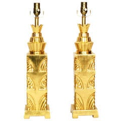 Pair of Gorgeous Art Deco Style 23k Gold Leaf Lamps
