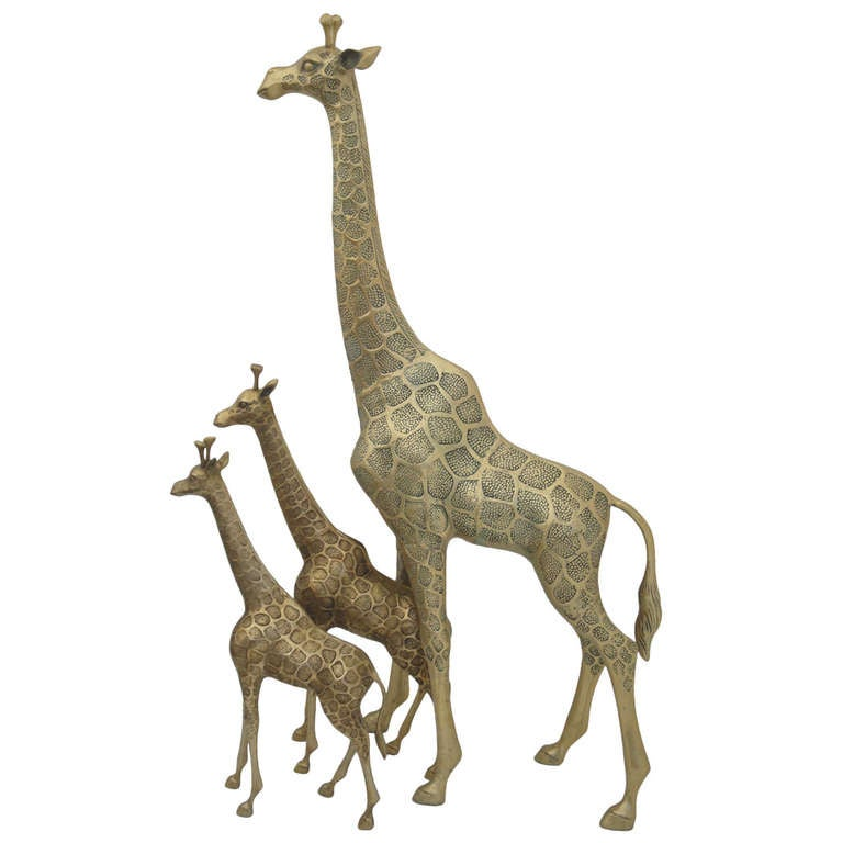 Brass Giraffe Family Sculpture