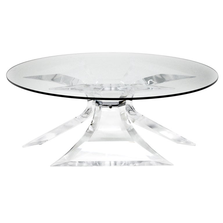 Lion in Frost Tripod Lucite and Glass Coffee Table with Chrome Center