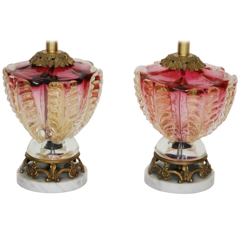 Pair Of Vintage Murano Cranberry Glass Lamps With Gold