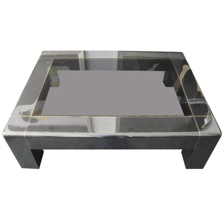 Magnificent Karl Springer Coffee Table In Rare Gunmetal Finish At 1stdibs