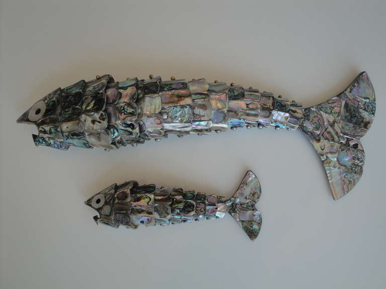 Hollywood Regency Pair of Abalone Shell Fish Sculptures in the Style of Los Castillos For Sale