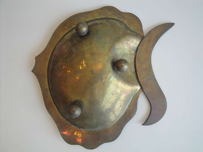 Late 20th Century  Los Castillo Abalone Shell and Brass Fish Platter For Sale