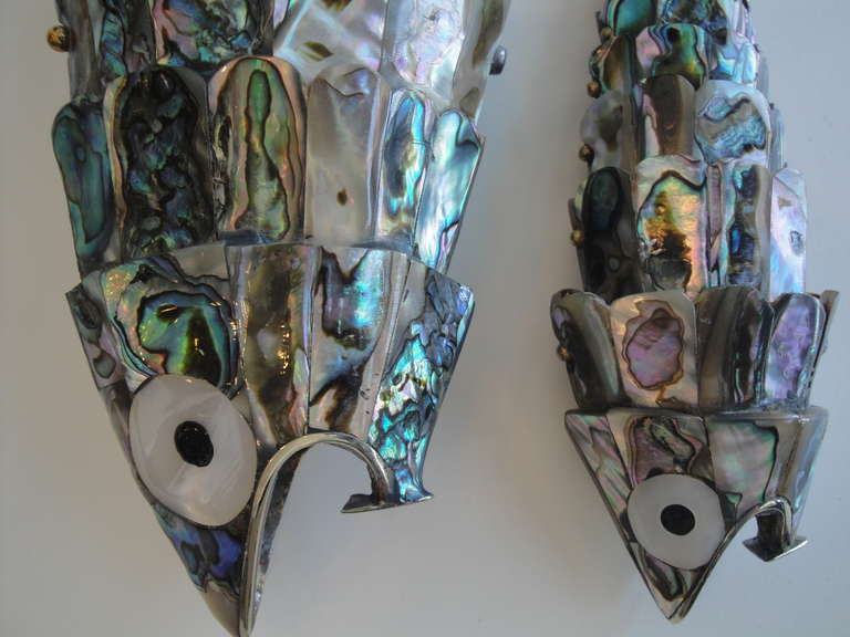 Mexican Pair of Abalone Shell Fish Sculptures in the Style of Los Castillos For Sale