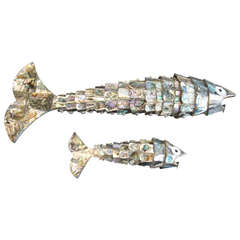 Pair of Abalone Shell Fish Sculptures in the Style of Los Castillos