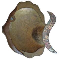 Los Castillo Abalone Shell and Brass Fish Platter