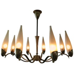 Stilnovo Eight-Arm Brass and Glass Chandelier