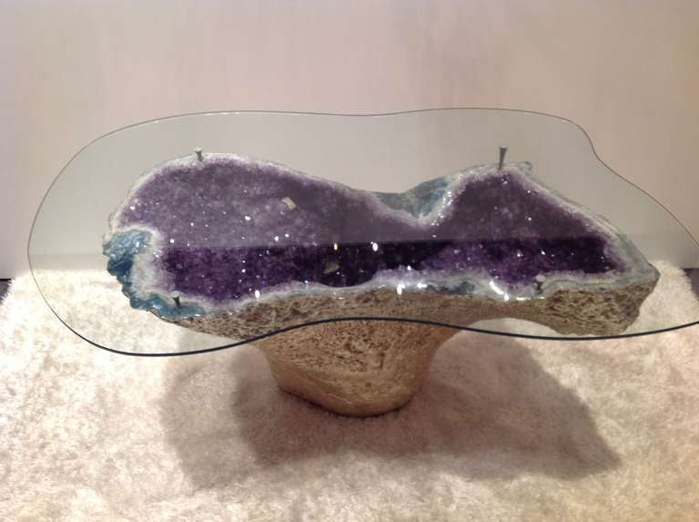Rare Amethyst Geode Table Gilded 18 Karat Gold With Custom