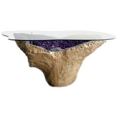 Rare Amethyst Geode Table Gilded 18-Karat Gold with Custom Cut to Form Glass