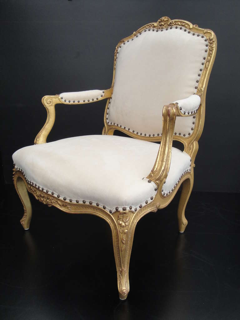 French Louis XV Style Gilt His and Her Chairs For Sale at ...