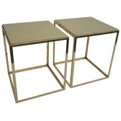 Pair of Polished Brass End/Side Tables