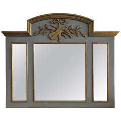 Exquisite Handcarved French Style Parcel Gilt Trumeau Mirror