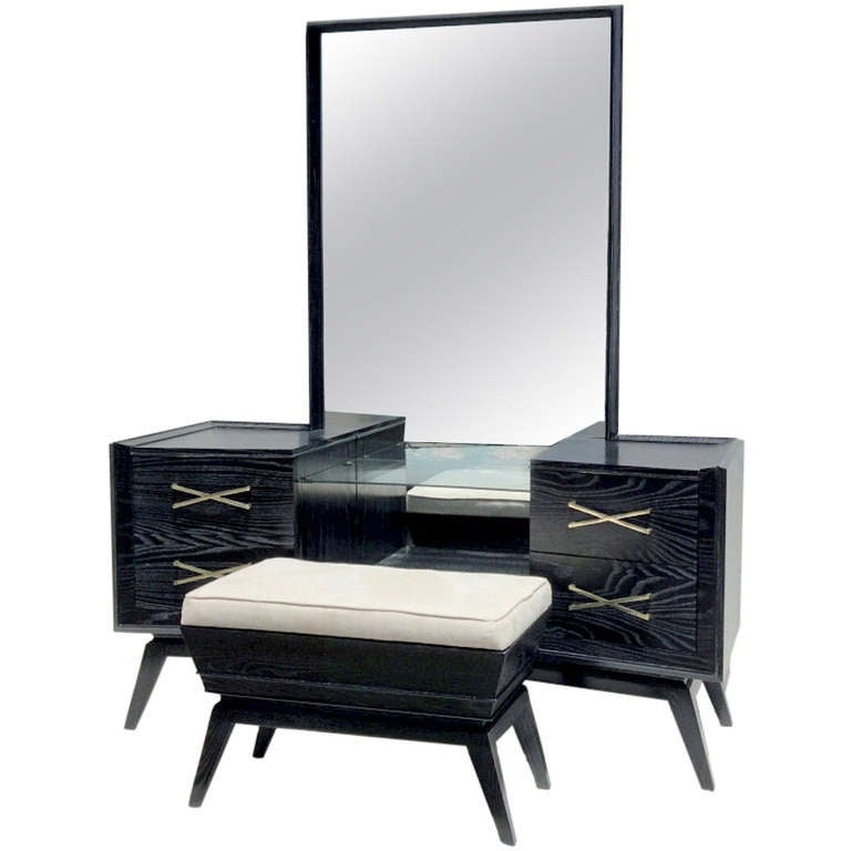 Black Cerused Make Up Vanity Dresser With Mirror And Stool