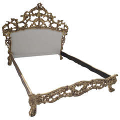 Rococo Style Gold Leafed Queen Bed