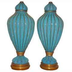 Pair of Opalescent Turqoise Blue Caged Venetian Marbro Lamps