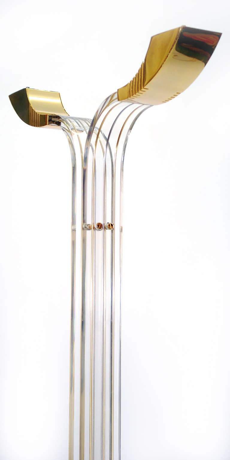 gorgeous hollywood regency and art deco style lucite and brass floor lamp 3