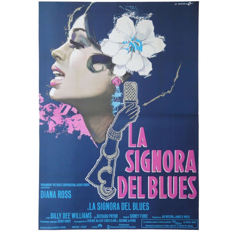 <i>La Signora Del Blues</i> Italian movie poster with Diana Ross, 1970s, offered by Gallery Girasole
