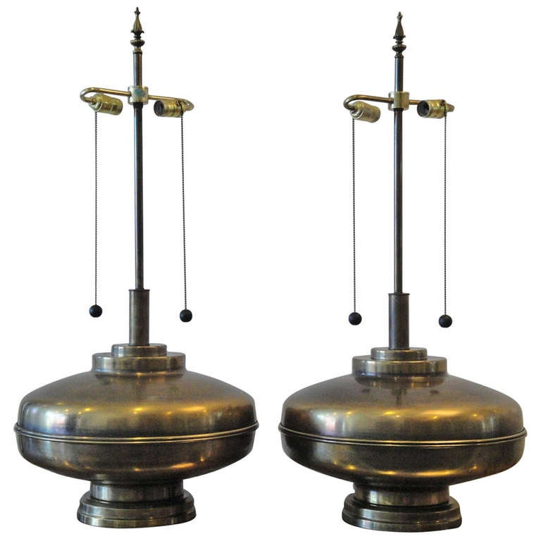 Pair Giant Brass Lamps In Oil Rubbed Bronze Finish At 1stdibs
