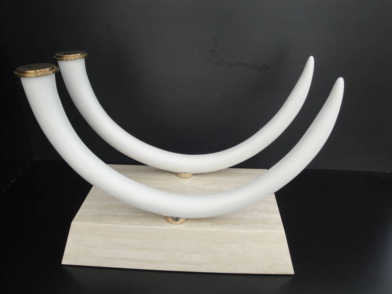 Faux Elephant Tusk And Travertine Dining Table Att To