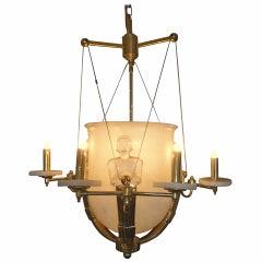 Alabaster and Brass Art Deco Style Chandelier