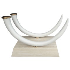 Faux Elephant Tusk and Travertine Dining Table att to Maitland Smith
