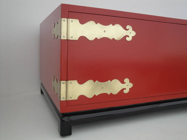 Hollywood Regency Red Lacquered and Brass Coffee Table or Cabinet 8