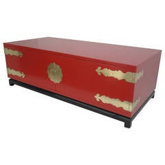 Hollywood Regency Red Lacquered and Brass Coffee Table or Cabinet