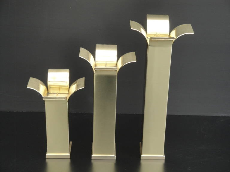 Late 20th Century Set of Modernist Polished Brass Candlestick Holders For Sale