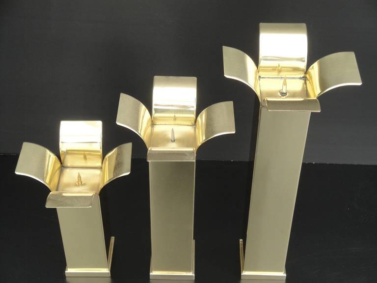 Set of Modernist Polished Brass Candlestick Holders For Sale 1