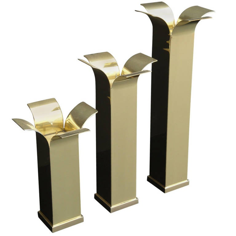Set of Modernist Polished Brass Candlestick Holders For Sale