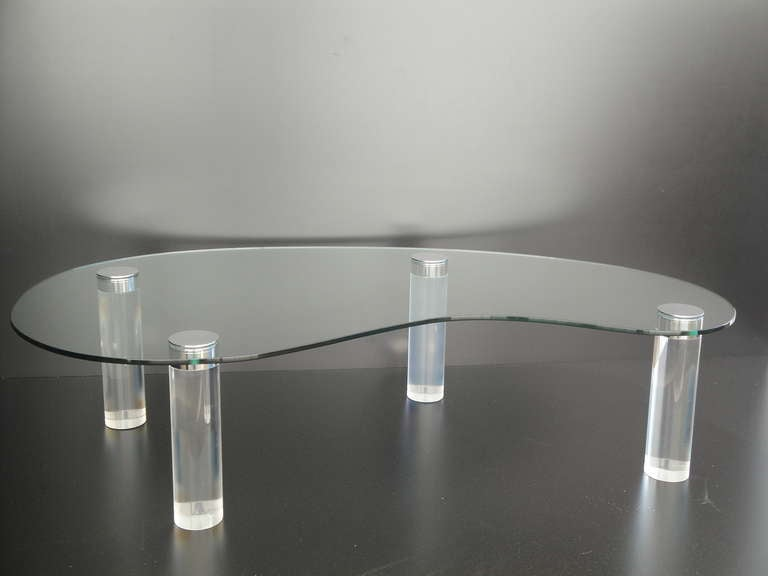 Lucite Kidney Shaped Coffee Table By Pace Collection At 1stdibs