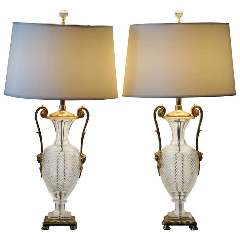 Pair of Bronze and Cut Crystal Neoclassical Lamps