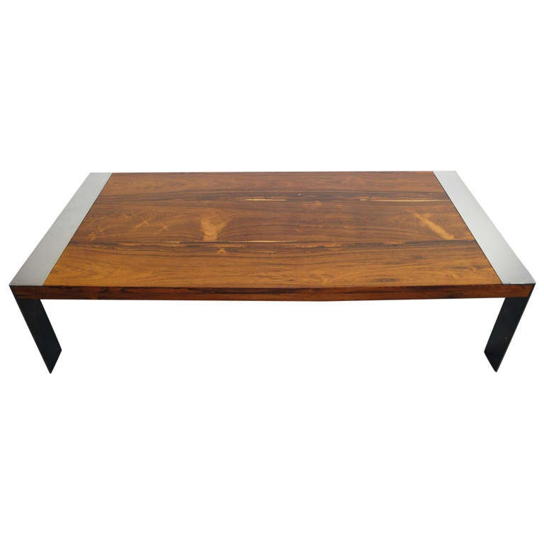 Milo Baughman Rosewood And Chrome Coffee Table At 1stdibs