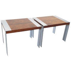 Pair of Milo Baughman Rosewood and Chrome End Tables