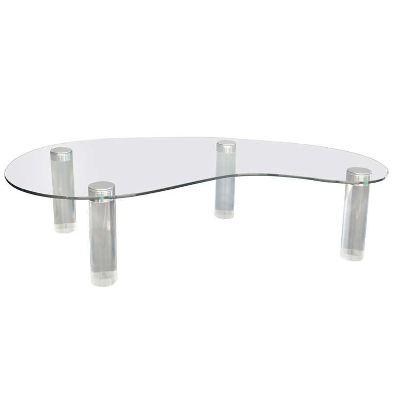 Lucite Kidney Shaped Coffee Table by Pace Collection