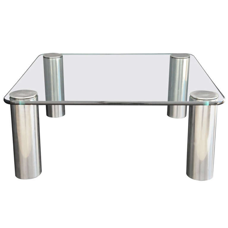 Pace Modernist Chrome and Glass Coffee Table