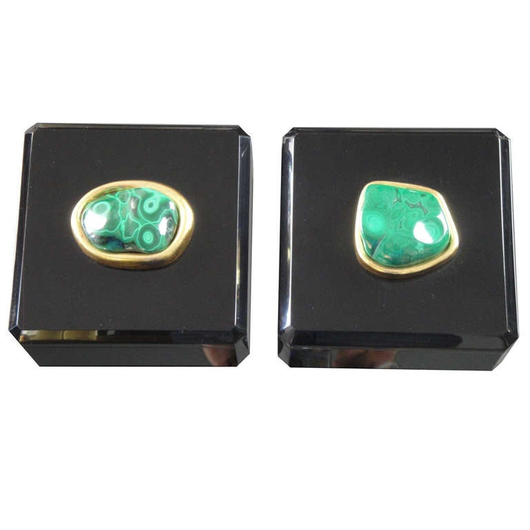 Malachite and Black Lucite Jewelry Box For Sale at 1stdibs