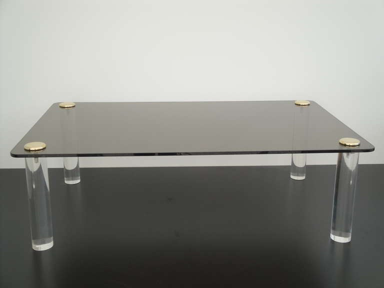 Pace Collection lucite table with half inch thick smoke glass top.