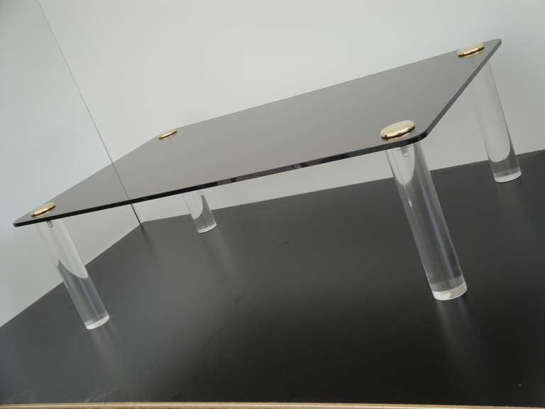 American Pace Collection Lucite and Smoked Glass Coffee Table For Sale