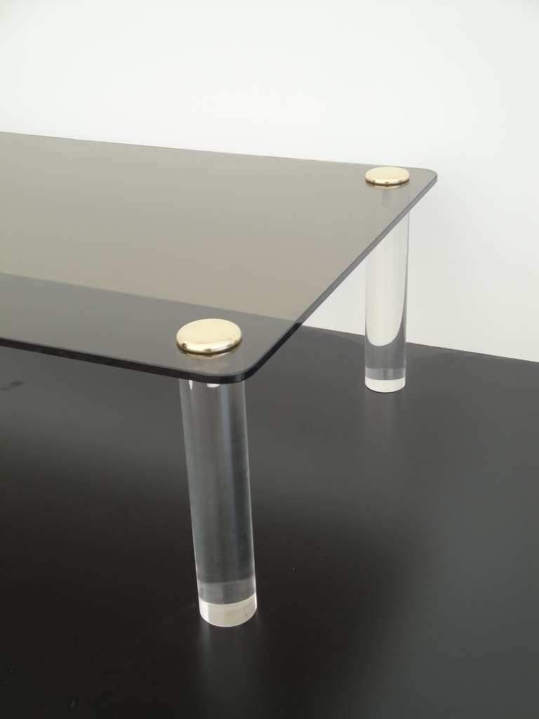 Pace Collection Lucite and Smoked Glass Coffee Table In Excellent Condition For Sale In North Hollywood, CA