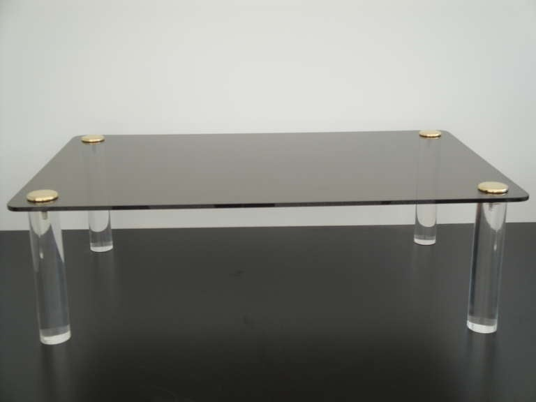 Pace Collection Lucite and Smoked Glass Coffee Table For Sale 2