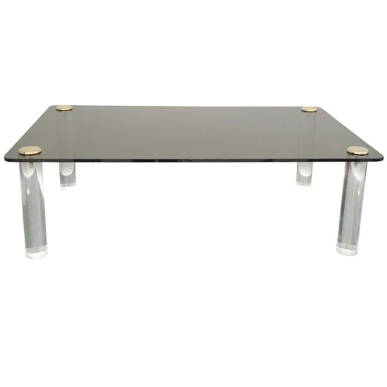 Pace Collection Lucite And Smoked Glass Coffee Table At