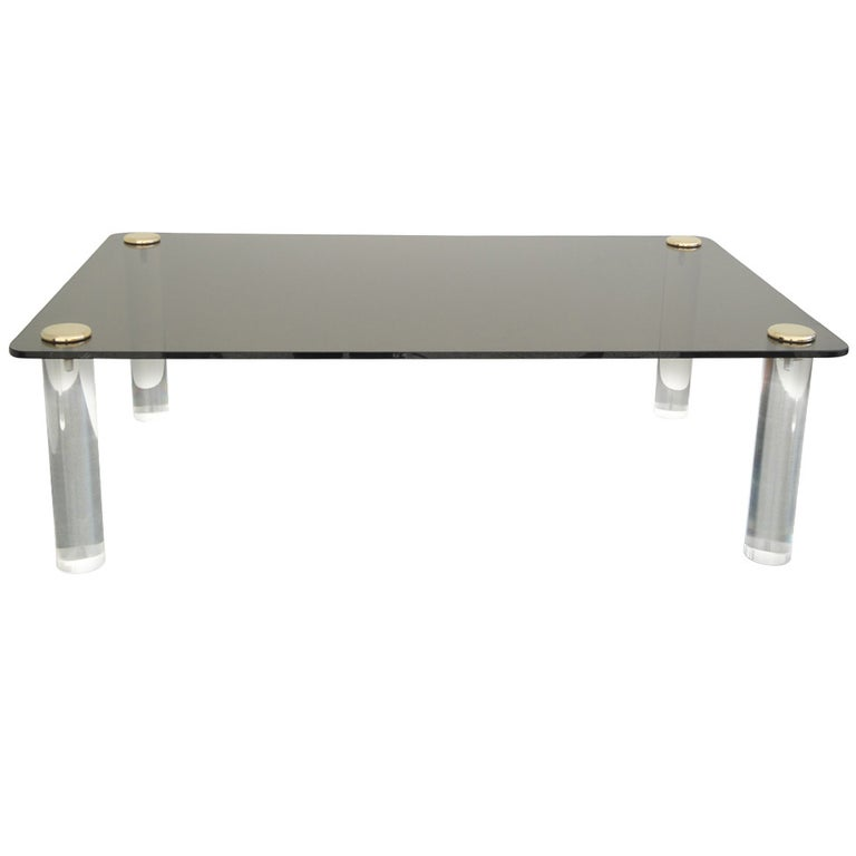 Pace Collection Lucite and Smoked Glass Coffee Table For Sale