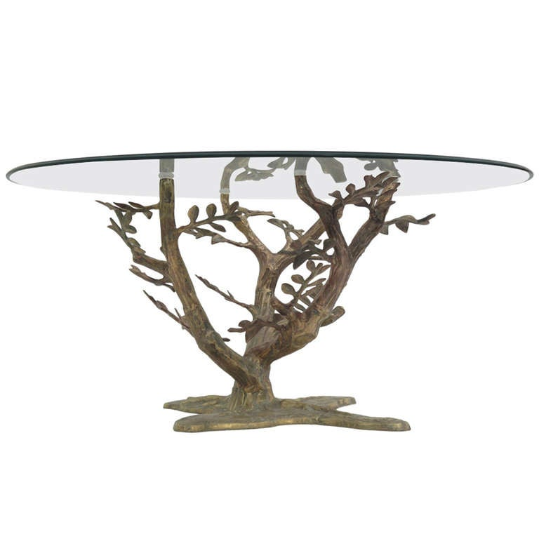 brass tree sculpture coffee table style of willy daro at 1stdibs