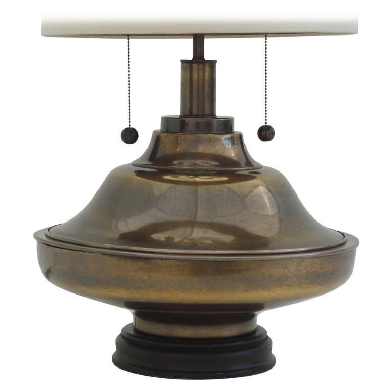 giant brass lamp in oil rubbed bronze finish at 1stdibs. Black Bedroom Furniture Sets. Home Design Ideas