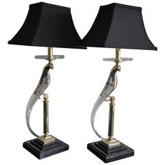 Pair of Brass and Crystal Bird Lamps in the Style of Curtis Jere