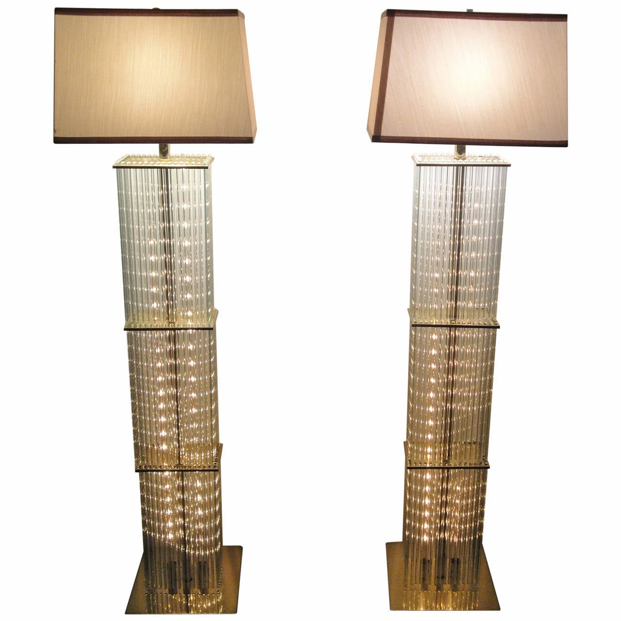 Pair Of Sciolari Brass And Glass Floor Lamps For Lightolier 1